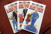 Dover Collectible Campaign Edition Paper Dolls / Just in time for one of the most contentious election seasons in recent memory, Dover presents high-quality Collectible Campaign Paper Doll Editions that lampoon the current crop of front-runners: Donald Trump, Hillary Clinton, and Bernie Sanders. Each book includes a doll of the larger-than-life candidate plus an assortment of 15 comedic costumes that capture — and spoof — their unique personalities. Available June 10- sign up to be the first to know when they're released!