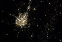 At night, city from sky and space