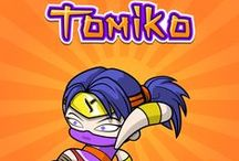 Tomiko - Adventurous & Brave / Tomiko's courage and bravery serve her well on Yogome missions. In her free time, she likes developing fun video games and reading comics with Nao.