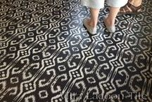 Black and White Cement Tile / Encaustic cement tile in primarily black and white