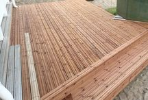 Wooden Patio Project / Making a wooden floating deck extension to backyard. It will integrate hot tub and existing terrace to each others with walkway and stairs to garden.
