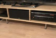 Selfmade TV Desk / Oak gluelam and bunch of brass screws and basic deck legs