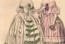 Fashion - 1840s / The big gigot sleeves of the 1830s disappeared in the 1840s. the waistline dropped lower to accentuate the feminine form, and skirts became fuller, with more petticoats giving way to horsehair crinoline that gave more volume without the heaviness of many petticoats. / by Christina