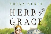 HERB OF GRACE by Adina Senft / Amish widow Sarah Yoder has been struggling to raise her two teenaged sons. When the local Dokterfraa tells Sarah she should use her gift for growing plants to become an herbal healer, Sarah is reluctant. Caring for others will take her away from her family--the place where she believes God wants her. But when she feels called to help members of her community, she soon discovers that the heart can be scarred as deeply as the body.