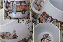 En el taller / Trabajos realizados por las alumnas del taller de pintura sobre porcelana