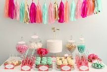 Food Tables / Tons of inspiration for planning a colorful food table and sweet table for a theme party.