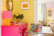 Home Office Ideas / Bright and colorful home office ideas.
