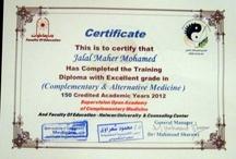 Des Diplomes Maher  / des diplomes de Abou Moussaab dans le domaine de la médecine alternatif , et des attestations .
