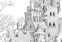 Antistress coloring - Houses,Castles,Cities