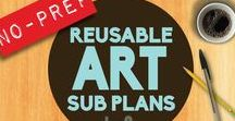 Art Sub Lessons / Projects that would work well for a substitute teacher in art class. Easy Art Lessons, Roll & Draw Pages, Sub Art Lessons, Sub Plans, Sub Tub Ideas