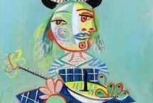 Pablo Picasso / Picasso for Kids - Lessons to get to know Pablo Picasso.  Painting and other artwork by Picasso.  Picasso quotes, books, and other art history resources.  Cubism - Blue Period - Roll & Draw - Picasso Face - Roosters