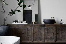 BATHROOMS / Interior design   Interior decoration   Bathroom design   Beautiful home design   Bold interior   Moody interior   Scandinavian bold