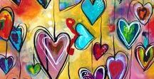 I Heart Art / Using the simple yet iconic heart symbol, students can explore a wide variety of art techniques while easing their anxiety about their drawing ability. Heart Art, Heart Art Projects, Drawing  Hearts, Heart Collaborative Art
