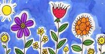 Flower Art Lessons for Kids / Flower art and crafts to inspire young artists. Flower Art Projects, Drawing Flowers, Spring Flowers, Radial Symmetry, Color Theory with Flowers