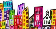 Cityscapes / Art lessons and artists that create cityscapes.  City Art Lessons, City Art, Urban Art, Urban Artists