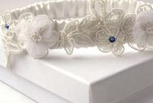 Wedding Garters / Lovely garters handmade in the UK from gorgeous silk, organza and lace. We have vintage designs with beautiful diamante detailing, personalised garters with engrave sterling silver hearts and each design has a something blue lucky ribbon hidden inside.