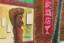 Paintings by sophista-tiki / a selection of watercolors and acrylic paintings including images that have been published in books abour tiki art since the beginning of the revival scene in the early 90's.