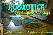 Rugxotica, hand tufted rugs / Hand Tufted tiki modern rug designs by Sophista-tiki.  Artist Dawn Frasier designs and tufts each rug by hand using old school tufting methods.