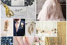 blush peach blue wedding
