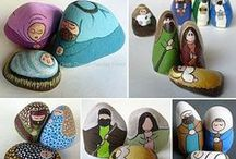Painted Rocks - Nativity Sets / Unique nativity sets and nativity scene figures hand painted on rocks and stones. Most are painted by me; some are painted by others.