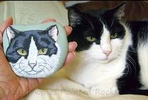 Painted Rocks - Cats / Painted Rocks: Cats and kittens hand-painted on rocks and stones. Some are painted by me and some are painted by others.