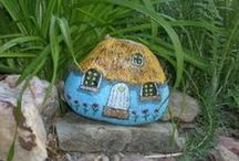 Painted Rocks - Buildings and Houses / Houses and Buildings Painted on Rocks and Stones - these are both mine and other rock artists.