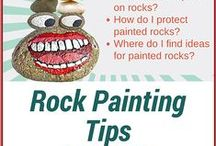 Rock Painting Ideas & Helps / Painted Rocks: Tips, tricks, ideas, and patterns to use for painting rocks, stones and pebbles. (Ideas for painted birds, butterflies, cats, Christmas, dogs, flowers, hearts, owls, people, suns, vehicles have been moved or re-pinned to separate boards.)