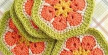 """Yarn - Pent, Hex, Octagons / 5-8 pointed or sided motifs. See """"Stars"""" for pointier versions."""