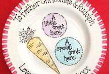 Christmas plates / Christmas plates, mince pie plates, cookies for Santa plates, Father Christmas plates. Some our own, some from others.