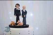 cake toppers / Wedding cakes with personalised bride and groom cake toppers