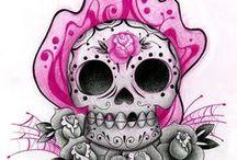 Oh sugar sugar......SKULLS / day of the dead....sugar skulls....tattoos, art, clothing, ect