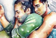 Love is Love in Watercolor / This board captures love between men. Love is Love. These paintings are by artist Brenden Sanborn. A watercolorist of the male form.
