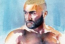 The Male Figure in Watercolor / A collection of watercolor paintings of the male form by artist Brenden Sanborn.