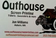 Outhouse Screen printing & Embroidery / We have been screen printing for over 20 years. We have recently added Embroidery as well.  outhouseprinting@comcast.net   Also check out our webpage.  www.outhousescreenprinting.com  / by Carri Williams