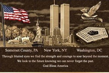 9/11 / I had a friend who was on the plane that hit the Pentagon. The passenger manifest shows her seat was next to one of the terrorists. I saw two photos in the days after 9/11 that shook me - one was of a man clinging to a piece of the tower as it plummeted to the ground. The other was a line of shoes the firemen took off and hung on the fence of Trinity Church so they could get into their boots. The shoes were never reclaimed. NEVER FORGET what we all lost! / by Jean Heavrin