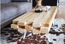 Mesas de centro / Multifuncionais, com reuso de materiais, soluções diferentes para as mesas de centro.