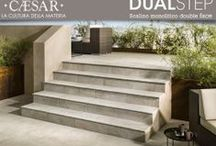 DUAL STEP - step in 20mm / step monolithic #porcelain stoneware 20 mm for the construction of staircases, steps and edges. Can be used in all areas inside and outside, both residential and commercial, Dual Step is part of Aextra20, the range of products #Caesar for gardening and the outdoors.