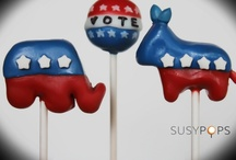 "Election cake pops by SUSYPOPS / ""Pop"" art you can eat!  facebook.com/SUSYPOPS"
