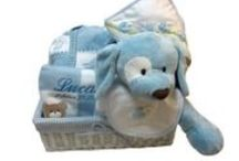 "Baby Gift Baskets / Nothing produces a ""wow "" at a baby shower or naming like a beautiful wrapped gift basket full of amazing little luxuries and baby essentials. Add baby's name or initial and you have an extraordinary baby gift. Cellophane wrapped reusable wicker baskets of essential baby layette, cuddly crib or stroller baby blankets, soft hooded towels and popular plush toys make wonderful baby shower or birth gifts at www.namelynewborns.com"