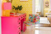 Home: Fill it with COLORFUL things you love! (Bright, furniture, art, kitch, walls, paint, decor) / by Angela Dawn