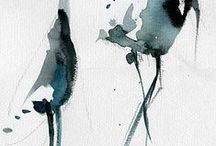 Chinese/Japanese water colour / art in water colour in Chinese/Japanese style