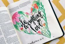 Journaling Bible / Kelly Ginn's personal journaling Bible. Come follow me on Instagram to see more! @kellyginn22  #journalingbible #biblejournaling #illustratedfaith #KGPjournalingbible