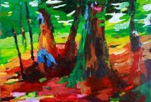 Marti Higgins Art / These semi-abstract acrylic paintings are inspired by nature and the changes in seasons.  Marti's art work can be found on MartiHigginsArt.com