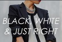 Black, White, & Just Right / #black #white #colorblock #fashion #jewelry #necklace #earring #bracelet #bangles #style #shop #home #decor / by Amrita Singh Jewelry
