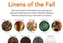 Fall Collection / Here's a dozen autumn tablecloth fabrics in hundreds of colors. We can make your custom sized tablecloth from any one of them. Fabric samples available! #fall #autumn #tablecloths #tablelinen