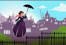 Disney ~ Mary Poppins / Mary Poppins is a 1964 musical film starring Julie Andrews, Dick Van Dyke, David Tomlinson, and Glynis Johns, produced by Walt Disney.