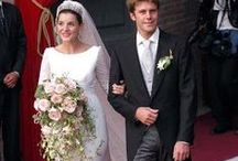 Italy - Clotilde Courau and Prince Emanuele of Venice and Piedmont / Nee:  Clotilde Marie. Pas ale Courau. Film actress.  Married Prince Emanuele Filiberto Umberto of Savoy on September 25, 2003 at the church of Santa Maria degli Angelu e die Martiri in Rome.  Her gown was designed by Valentino. Children: -Princess Vittoria of Savoy -Princess Luisa of Savoy