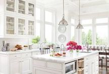I'm Dreaming of a White Kitchen / I love a white kitchen, especially with dark or colored bottoms, counter tops, floors, or with pops of color. / by Jacki Robbins