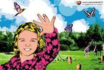 Clara au Zoo Pop Art / Aujourd'hui, www.Personal-Art.fr vous emmène au zoo... au Zoo Pop Art plus exactement. Une petite histoire pour enfants, illustrée par nos portraits d'animaux, toujours à partir de photographies, dans différents styles maîtrisés par le studio. Nous espérons que vous aimerez l'expérience et que vous aurez envie de la lire à vos enfants.  A partager sans modération!