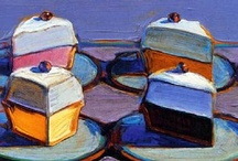 Thiebaud / Wayne Thiebaud b. 1920. American painter representing pop art and culture.  Pretty sure I just like his work because there's cake in a lot of it...